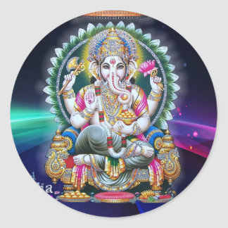 LORD GANESH HINDU GOD CLASSIC ROUND STICKER