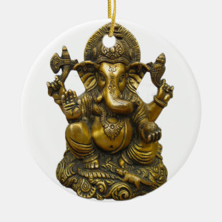 LORD GANESH HINDU GOD ROUND CERAMIC ORNAMENT