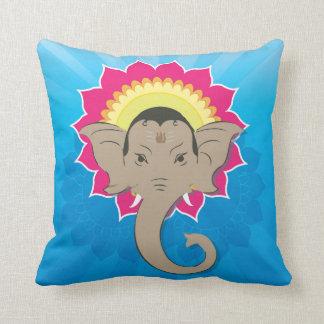 Lord Ganesha Digital Illustration Mandala Art Throw Pillow