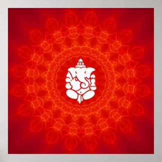 Lord Ganesha on Mandala Poster