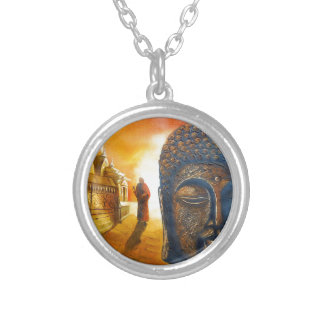 Lord Gautama Buddha Silver Plated Necklace