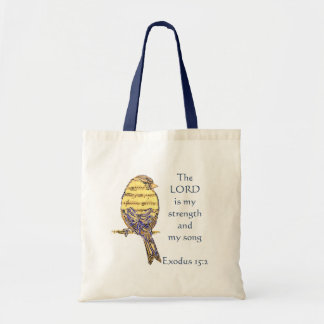 Lord is my Strength & Song Bible Scripture Bird Tote Bag