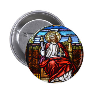 Lord Jesus on throne stained glass 2 Inch Round Button
