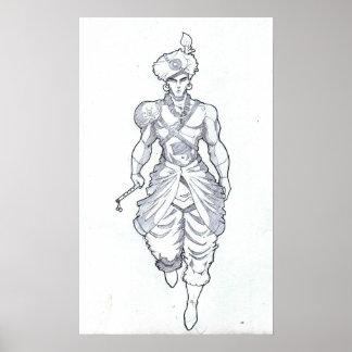 Lord Krishna Sketch Poster