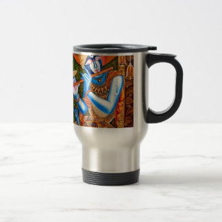 LORD KRISHNA WITH THE FLUTE ABSTRACT TRAVEL MUG