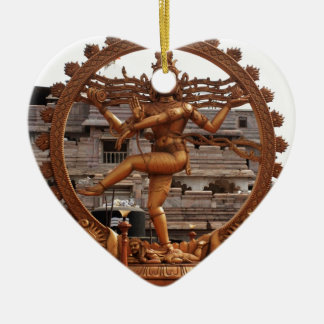 LORD SHIVA COSMIC DANCER CERAMIC HEART ORNAMENT