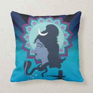 Lord Shiva Digital Illustration Mandala Art Throw Pillow