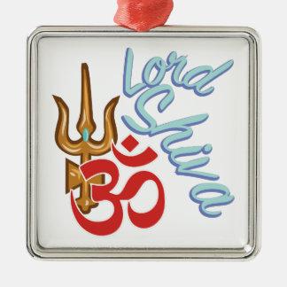 Lord Shiva Silver-Colored Square Ornament