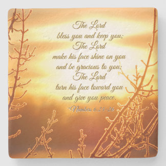 Lord's Blessing Numbers 6:24-26 Bible Verse Stone Coaster