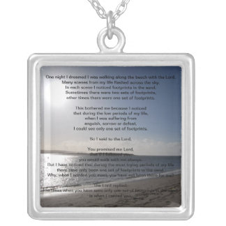Lord's Footprints in the sand sterling silver neck Silver Plated Necklace
