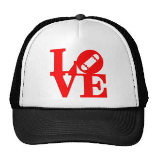 Lore skate deck red trucker hat