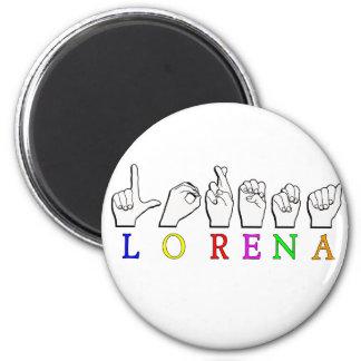LORENA FINGERSPELLED ASL NAME SIGN MAGNET