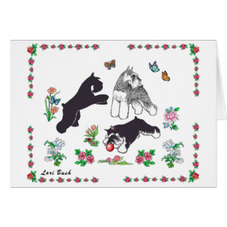 Lori Bush 3 Miniature Schnauzers Playing Card