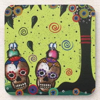 Lori Everett_ Day Of The Dead,Mexican,Skulls,birds Coaster