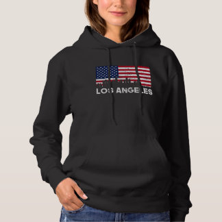 Los Angeles CA American Flag Skyline Distressed Hoodie
