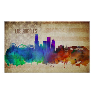 Los Angeles, CA | Watercolor City Skyline Poster