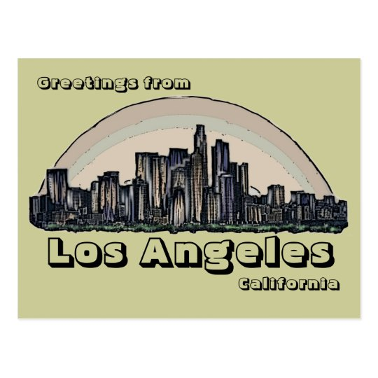 Los Angeles California artistic skyline postcard