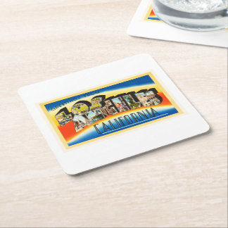 Los Angeles California CA Vintage Travel Souvenir Square Paper Coaster