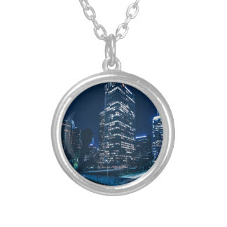 Los Angeles California City Urban Buildings Silver Plated Necklace