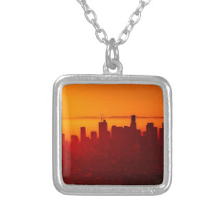 Los Angeles California City Urban Skyline Silver Plated Necklace