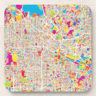 Los Angeles, California | Colorful Map Beverage Coasters
