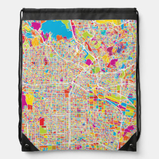 Los Angeles, California | Colorful Map Drawstring Bag