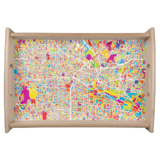 Los Angeles, California | Colorful Map Serving Tray