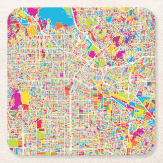 Los Angeles, California | Colorful Map Square Paper Coaster