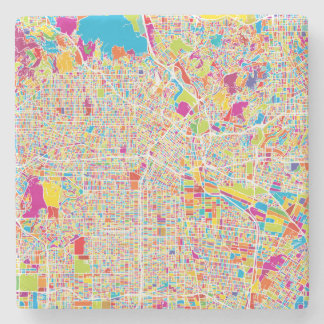 Los Angeles, California | Colorful Map Stone Coaster