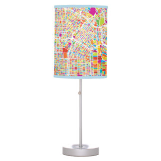 Los Angeles, California | Colorful Map Table Lamp