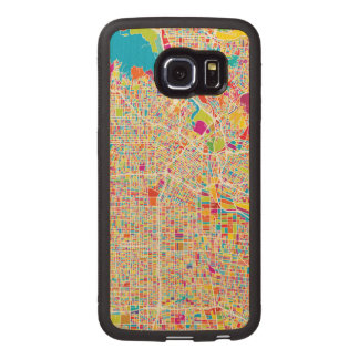 Los Angeles, California   Colorful Map Wood Phone Case