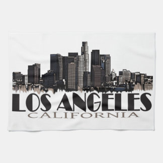 Los Angeles California dark skyline Hand Towels