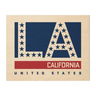 Los Angeles, California | Red,White & Blue Skyline Wood Wall Art