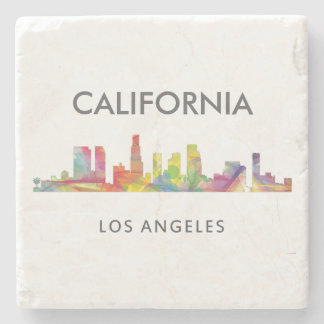 LOS ANGELES, CALIFORNIA SKYLINE WB1- STONE BEVERAGE COASTER