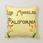 Los Angeles, California with Poppies Pillow