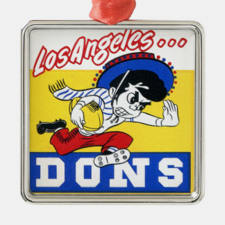 Los Angeles Dons (AAFC) Silver-Colored Square Ornament