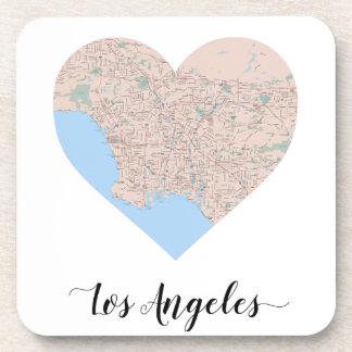 Los Angeles Heart Map Drink Coasters