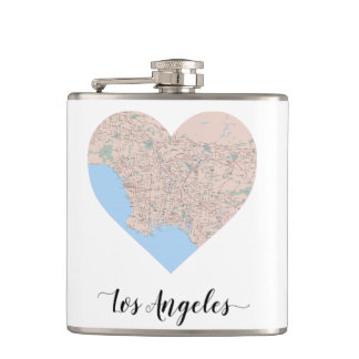 los Angeles Heart Map Hip Flask