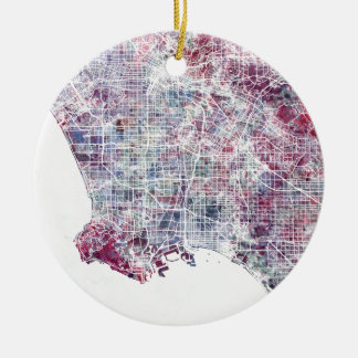 Los Angeles map California watercolor painting Ceramic Ornament