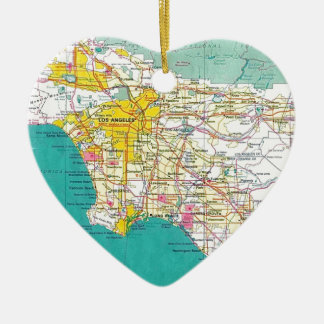 Los Angeles Map Ceramic Heart Ornament