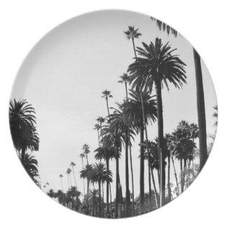 Los Angeles Palm Trees Melamine Plate