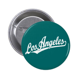Los Angeles script logo in white distressed 2 Inch Round Button