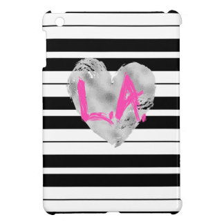 Los Angeles, Silver, Pink Striped Case For The iPad Mini