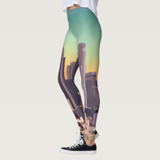 Los Angeles Skyline Illustration Leggings