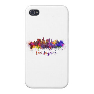 Los Angeles skyline in watercolor iPhone 4 Case