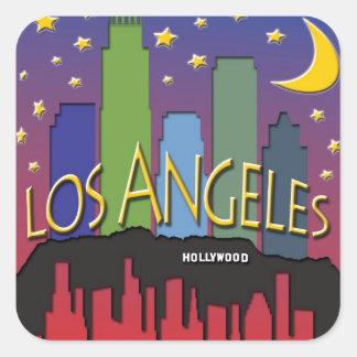 Los Angeles Skyline nighlife Square Sticker