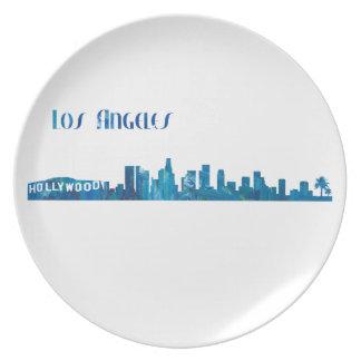 Los Angeles Skyline Silhouette Plate
