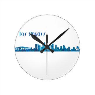 Los Angeles Skyline Silhouette Round Clock