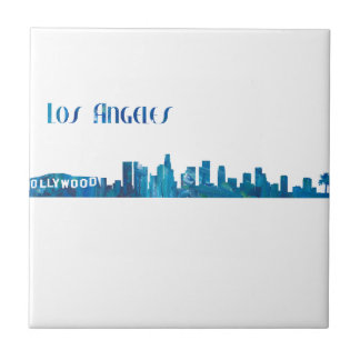Los Angeles Skyline Silhouette Tile