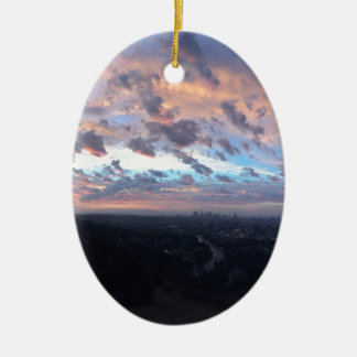 Los Angeles Sunrise off Mulholland Dr Ceramic Ornament